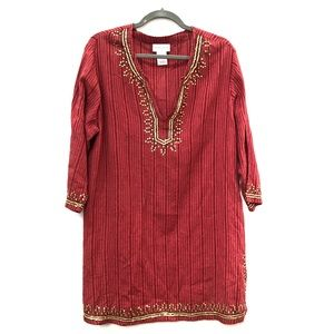 Soft surroundings red and gold beaded tunic Sz xl